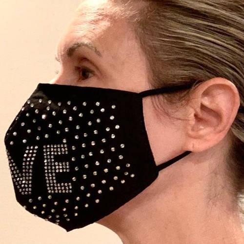 Adult Unisex Love Rhinestone Black Facemask (Adult Model Detail)