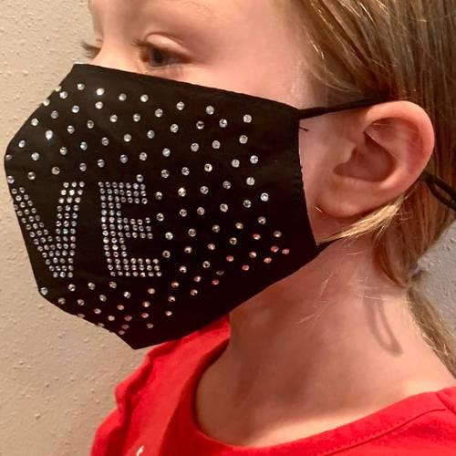 Adult Unisex Love Rhinestone Black Facemask (Child Model Detail)