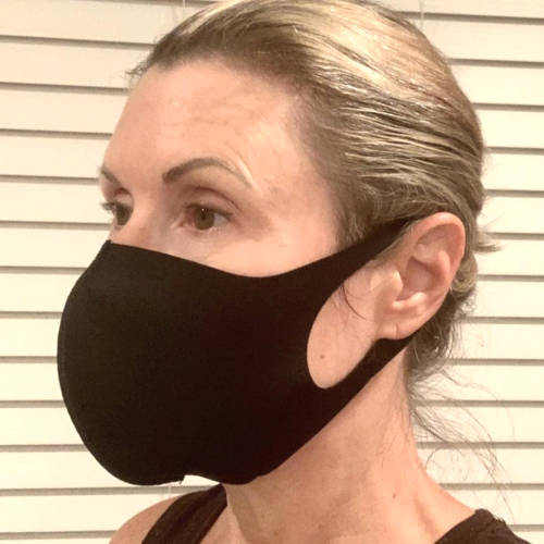 Adult Unisex Solid Black Facemask (Model)