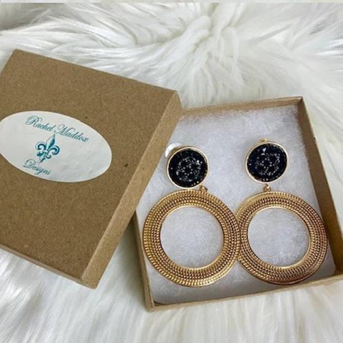 Black & Gold Double Drop Hoop Earrings (Box Display)