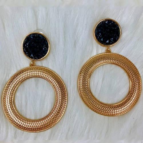 Black & Gold Double Drop Hoop Earrings (Flat Display)
