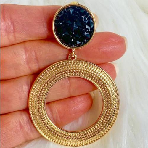 Black & Gold Double Drop Hoop Earrings (Hand Display)