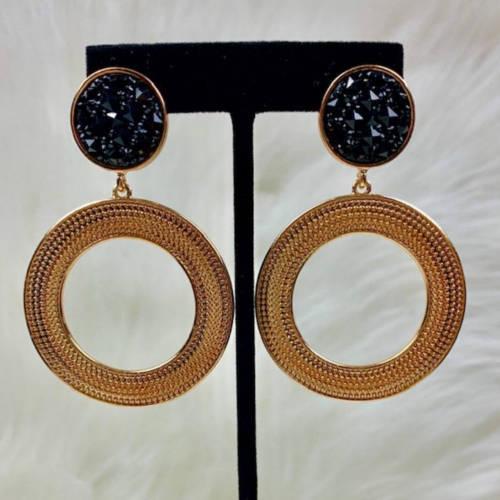 Black & Gold Double Drop Hoop Earrings (Hanging Display)
