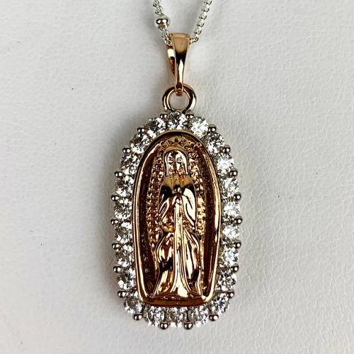 Gold Holy Mary Charm Necklace (close up)
