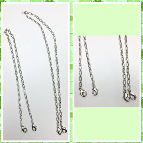 Face Mask Silver Chain Holder (Two Lengths Shown)