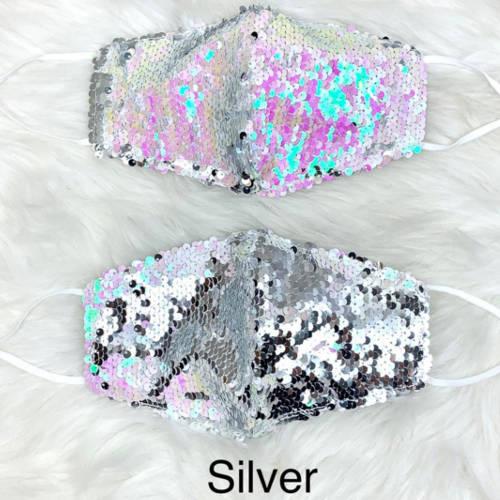 Flippy Sequin Facemask (Silver)
