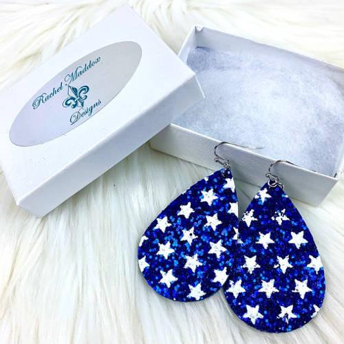 Glitter Teardrop Earrings (Blue Box)