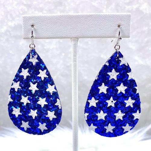 Glitter Teardrop Earrings (Blue hanging)