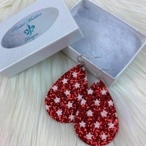 Glitter Teardrop Earrings (red Box)
