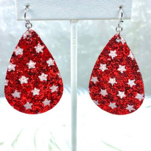 Glitter Teardrop Earrings (red hanging)