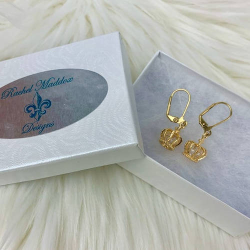 Gold Brass Crowns Earrings (Box Display)