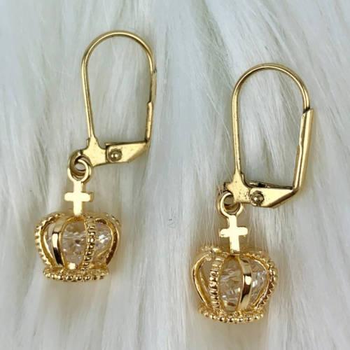 Gold Brass Crowns Earrings (Pair Display)