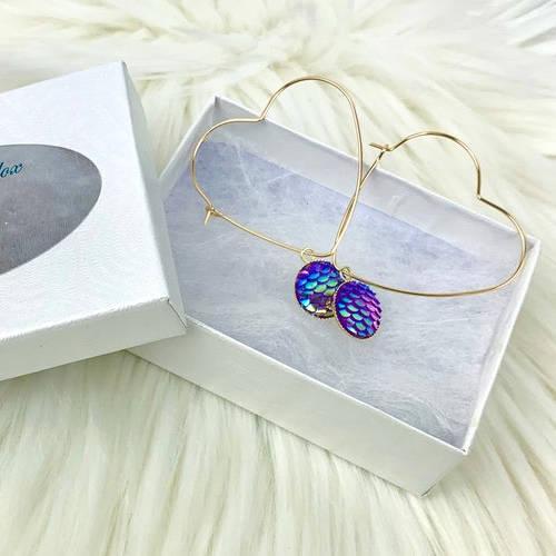 Gold Brass Hoop, Heart Dangle Earrings (Box Display)