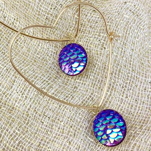 Gold Brass Hoop, Heart Dangle Earrings (Closeup Display)