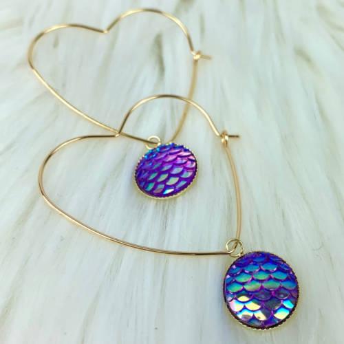 Gold Brass Hoop, Heart Dangle Earrings (Display)