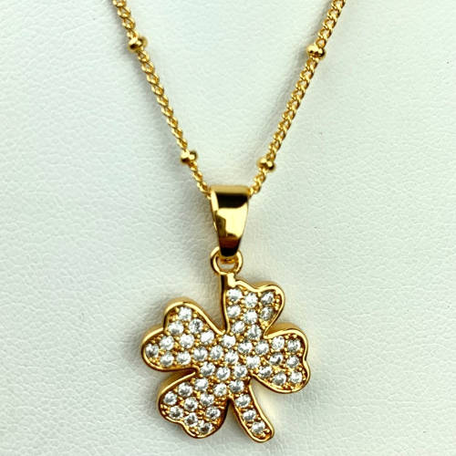 Gold Copper Four Leaf Clover Necklace (Showing Chain)