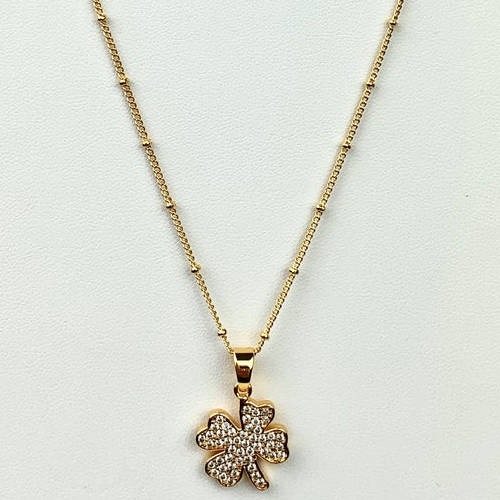 Gold Copper Four Leaf Clover Necklace (Showing long Chain)