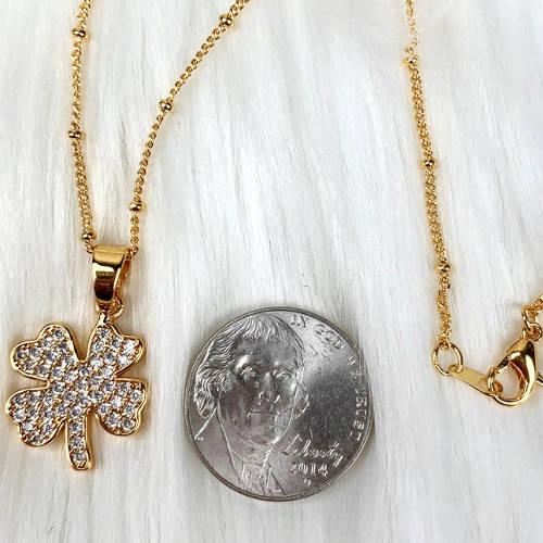 Gold Copper Four Leaf Clover Necklace (Size)