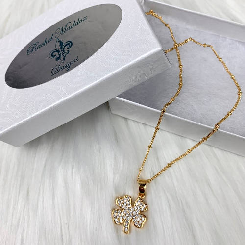 Gold Copper Four Leaf Clover Necklace (box display)