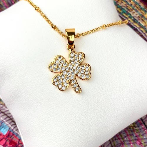 Gold Copper Four Leaf Clover Necklace