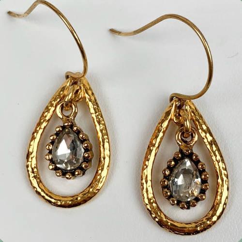 Gold Hammered Teardrop Crystal Charm Earrings (display)
