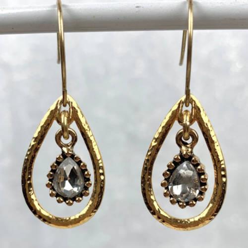 Gold Hammered Teardrop Crystal Charm Earrings (hanging display)