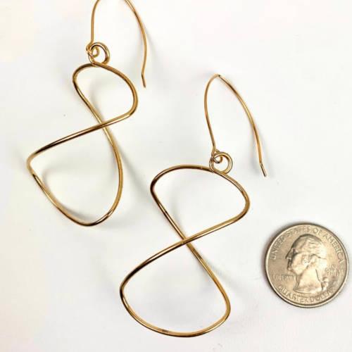 Gold Lightweight Free Form Earrings (Size)