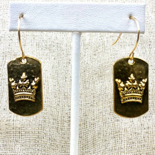 Gold Pewter Dog Tag Crown Fishhook Earrings (Hanging)