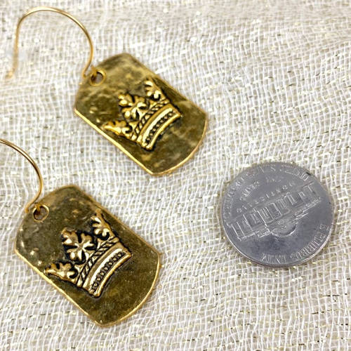 Gold Pewter Dog Tag Crown Fishhook Earrings (Size)