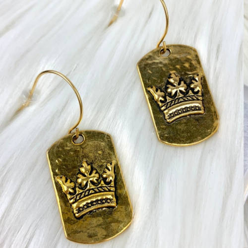 Gold Pewter Dog Tag Crown Fishhook Earrings (closeup)