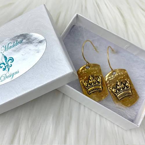 Gold Pewter Dog Tag Crown Fishhook Earrings