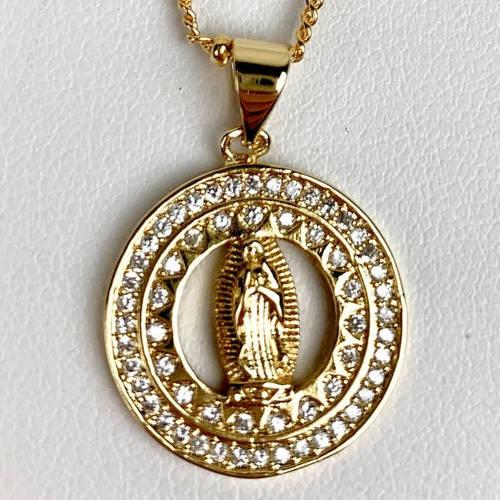 Gold Virgin Mary Necklace (Closeup)