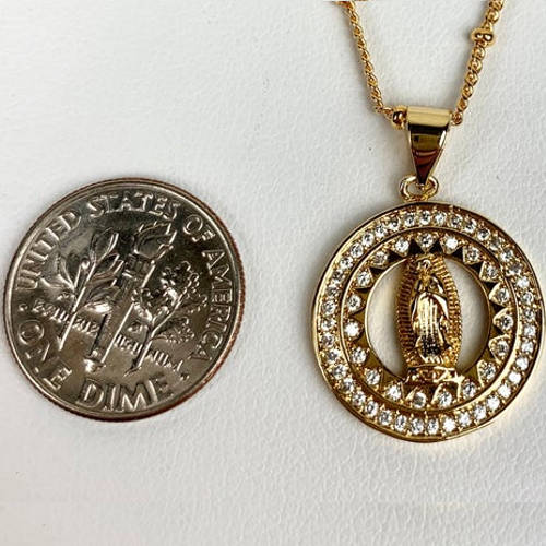Gold Virgin Mary Necklace (Size Comparison)