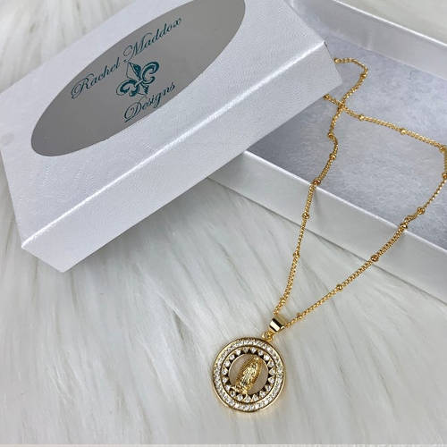 Gold Virgin Mary Necklace (box)