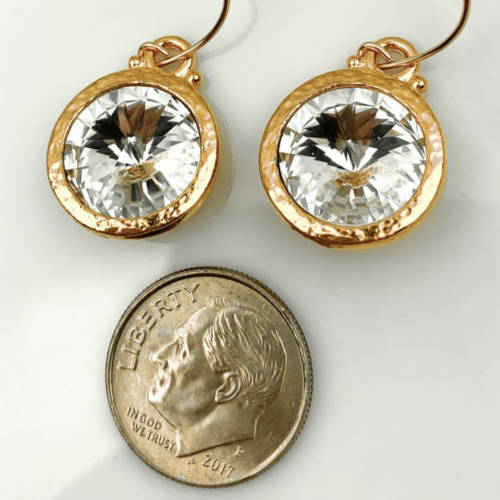 Gorgeous Sparkly Gold Plated Hammered Rivoli 12mm Swarovski® Crystal Earrings on 14K Gold Filled Earwires