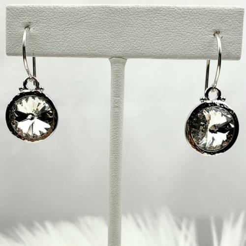 Hammered Rodium 12mm Swarovski® Crystal Earrings (hanging silver)
