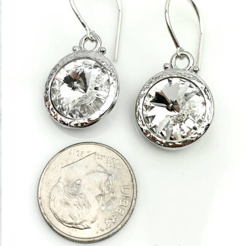 Hammered Rodium 12mm Swarovski® Crystal Earrings (silver)