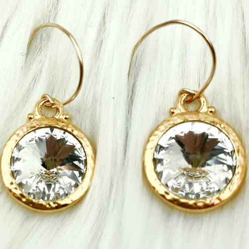 Hammered Swarovski® Crystal Earrings gold)