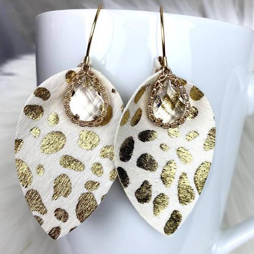 Leopard Teardrop Leather Earrings (cup)