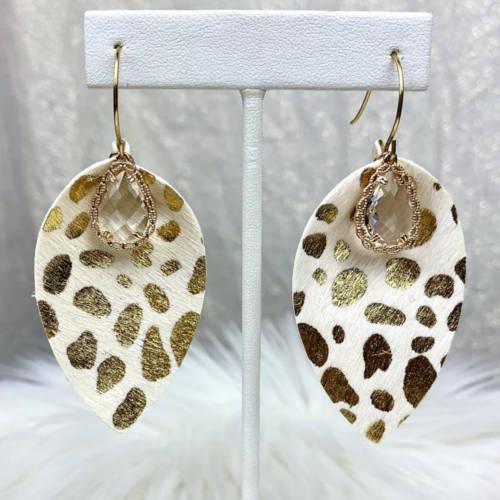 Leopard Teardrop Leather Earrings (hanging)