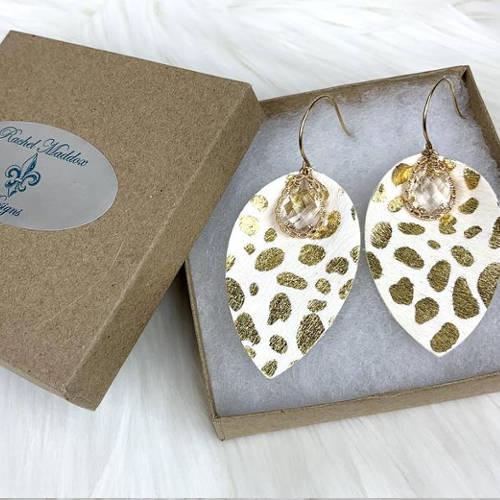 Leopard Teardrop Leather Earrings (size box)