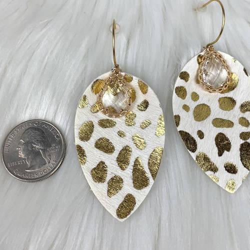 Leopard Teardrop Leather Earrings (size)