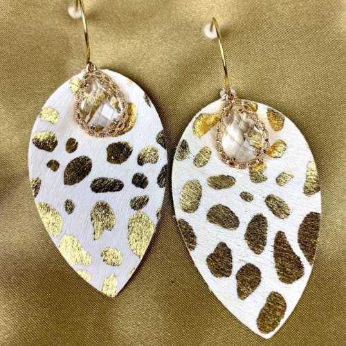 Leopard Teardrop Leather Earrings
