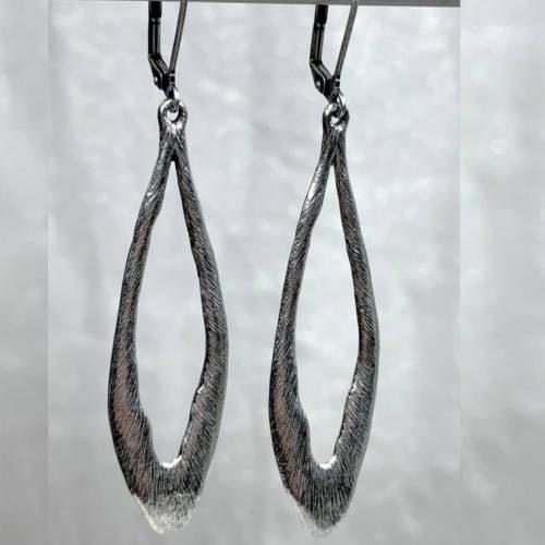 Long Open Drop Leverback Earrings