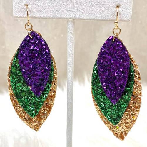 Mardi Gras Glitter Fleur de lis & Triple Feather Earrings (Feather display)