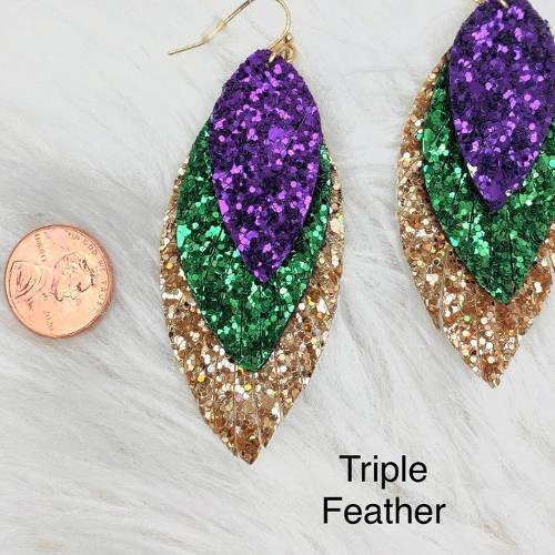 Mardi Gras Glitter Fleur de lis & Triple Feather Earrings (Feather size display)