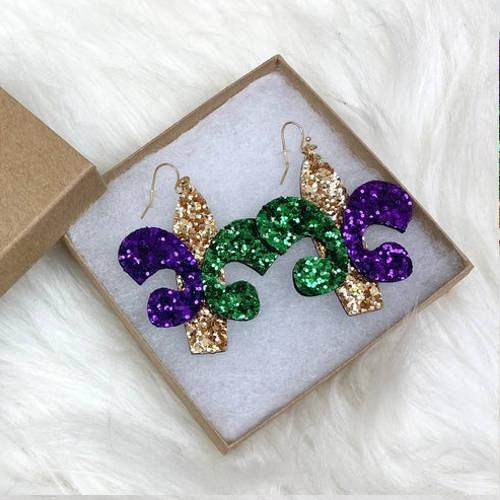 Mardi Gras Glitter Fleur de lis & Triple Feather Earrings (Fleur de lis display)