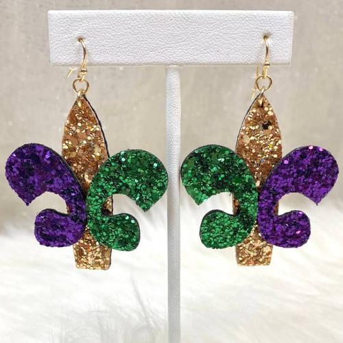 Mardi Gras Glitter Fleur de lis & Triple Feather Earrings (Fluer de lis display)