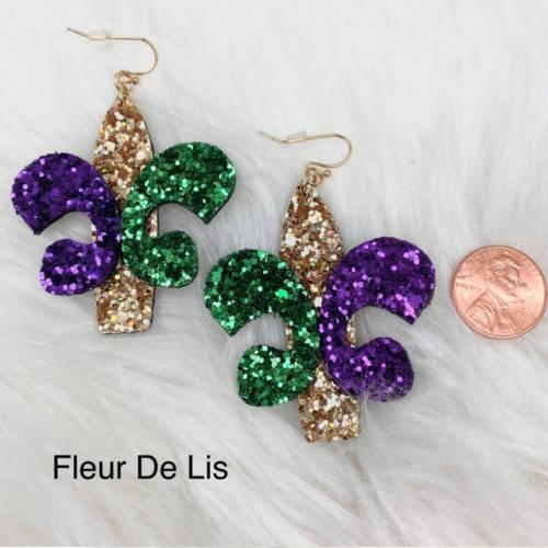 Mardi Gras Glitter Fleur de lis & Triple Feather Earrings (Fluer de lis size display)