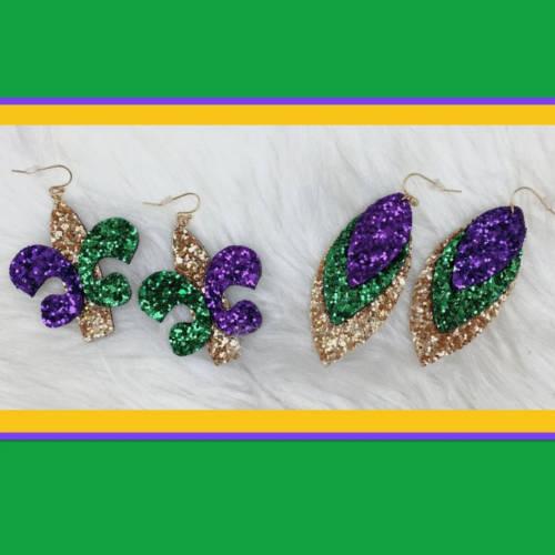 Mardi Gras Glitter Fleur de lis & Triple Feather Earrings (both display)
